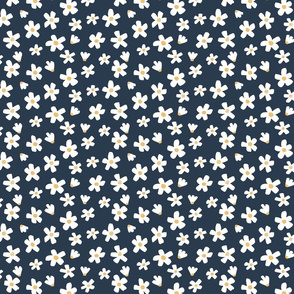 Small // Daisy garden dark blue, white and mustard yellow