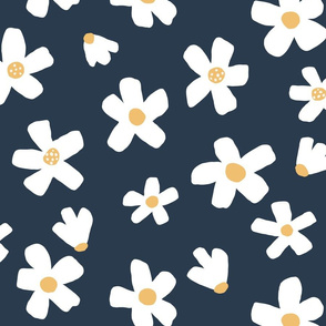 Medium // Daisy garden dark blue and Mustard floral girls Pantone