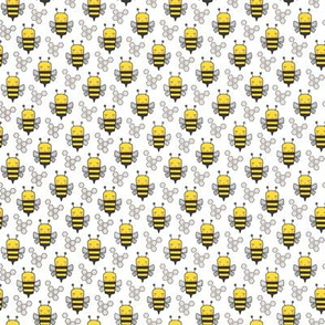Bees Honeycomb Black&White Bright Yellow on White Tiny Small 0,75 inch