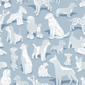 Small scale // Geometric sweet wet noses // pastel blue background white dogs: Beagles, Dalmatians, Corgis, Dachshunds, Pugs, Greyhounds, Dobermans, Schnauzers, Huskies, Chihuahuas, Poodles, Basset Hounds, Labrador Retrievers