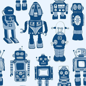 Hand drawn Vintage Robots Classic Blue - Medium scale