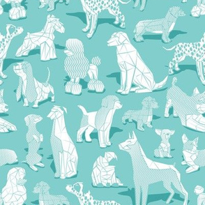 Small scale // Geometric sweet wet noses // aqua mint background white dogs: Beagles, Dalmatians, Corgis, Dachshunds, Pugs, Greyhounds, Dobermans, Schnauzers, Huskies, Chihuahuas, Poodles, Basset Hounds, Labrador Retrievers
