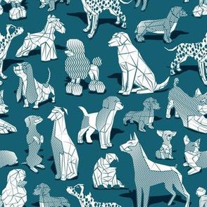 Small scale // Geometric sweet wet noses // dark teal background white dogs: Beagles, Dalmatians, Corgis, Dachshunds, Pugs, Greyhounds, Dobermans, Schnauzers, Huskies, Chihuahuas, Poodles, Basset Hounds, Labrador Retrievers
