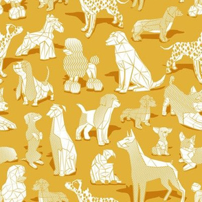 Small scale // Geometric sweet wet noses // goldenrod yellow background white dogs: Beagles, Dalmatians, Corgis, Dachshunds, Pugs, Greyhounds, Dobermans, Schnauzers, Huskies, Chihuahuas, Poodles, Basset Hounds, Labrador Retrievers