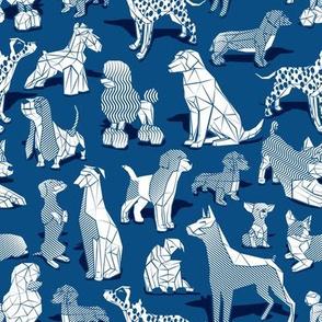 Small scale // Geometric sweet wet noses // classic blue background white dogs: Beagles, Dalmatians, Corgis, Dachshunds, Pugs, Greyhounds, Dobermans, Schnauzers, Huskies, Chihuahuas, Poodles, Basset Hounds, Labrador Retrievers