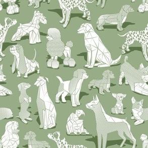 Small scale // Geometric sweet wet noses // sage green background white dogs: Beagles, Dalmatians, Corgis, Dachshunds, Pugs, Greyhounds, Dobermans, Schnauzers, Huskies, Chihuahuas, Poodles, Basset Hounds, Labrador Retrievers