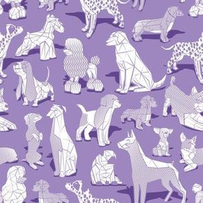 Small scale // Geometric sweet wet noses // violet background white dogs: Beagles, Dalmatians, Corgis, Dachshunds, Pugs, Greyhounds, Dobermans, Schnauzers, Huskies, Chihuahuas, Poodles, Basset Hounds, Labrador Retrievers