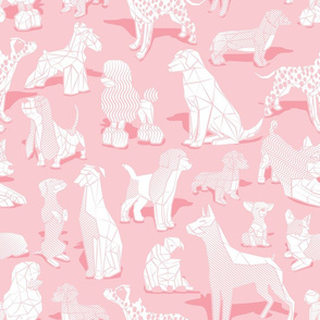 Normal scale // Geometric sweet wet noses // pastel pink background white dogs: Beagles, Dalmatians, Corgis, Dachshunds, Pugs, Greyhounds, Dobermans, Schnauzers, Huskies, Chihuahuas, Poodles, Basset Hounds, Labrador Retrievers