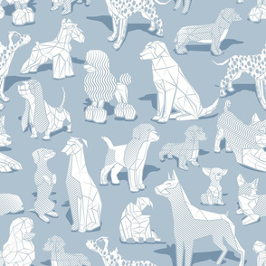 Normal scale // Geometric sweet wet noses // pastel blue background white dogs: Beagles, Dalmatians, Corgis, Dachshunds, Pugs, Greyhounds, Dobermans, Schnauzers, Huskies, Chihuahuas, Poodles, Basset Hounds, Labrador Retrievers