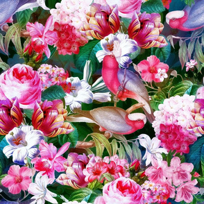 "18"" Pierre-Joseph Redouté Roses, lush Tropical Flowers and Birds, dark"