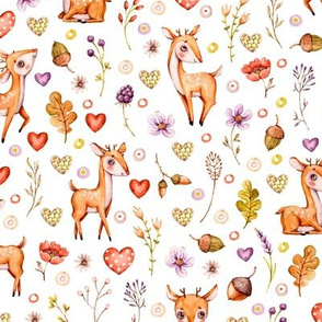 Watercolor cute Woodland nursery Baby deer