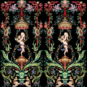 baroque Victorian cherubs angels boys children putti cupid flowers roses ribbons bows torches bows arrows birds doves leaves leaf canopy tambourine music flourish swirls vines fire toddlers