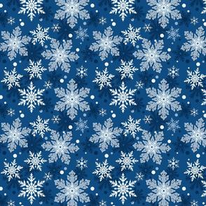 Classic Blue Snowflake Pattern Winter