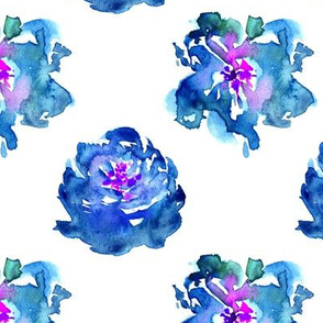 Blue watercolor peonies ★ painted florals for modern home decor, bedding