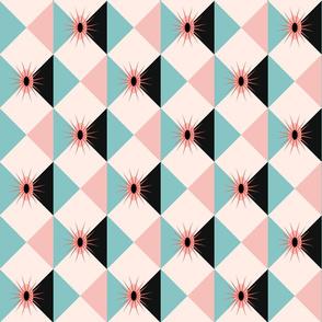 Atomic Sunburst Blocks Pink Blue Medium