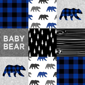 baby bear patchwork quilt top || buffalo plaid (blue)  C20BS