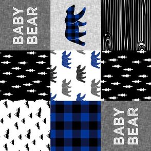 baby bear patchwork quilt top || buffalo plaid (blue)  (90) C20BS