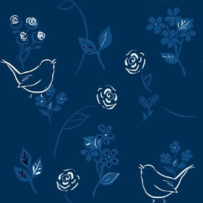 Roses and Wrens Classic Blue