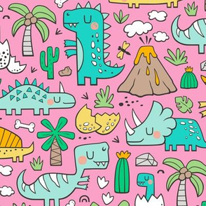 Dinos Doodle Mint Green on Pink