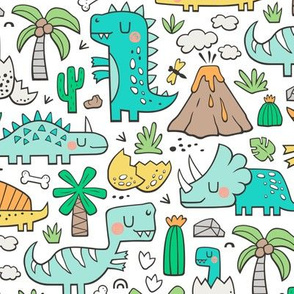 Dinos Doodle Mint Green on White