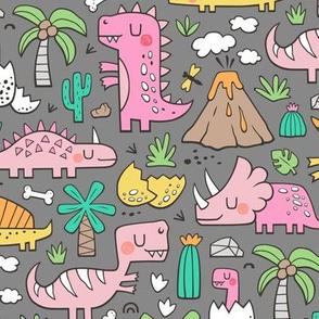 Dinos Doodle Pink Dark Grey