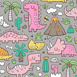 Dinos Doodle Pink on Grey