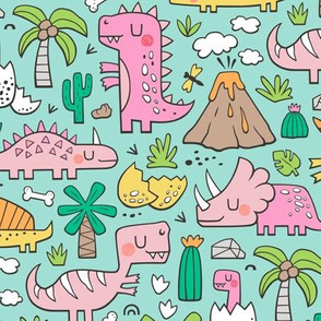Dinos Doodle Pink on Mint Green