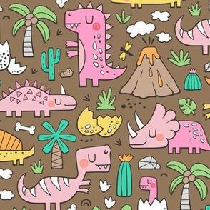 Dinos Doodle Pink on Dark Brown