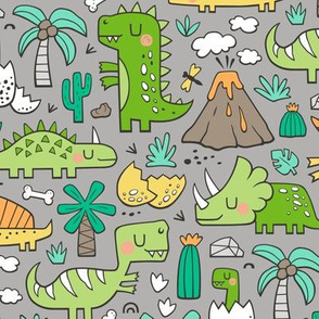 Dinos Doodle Green on Grey