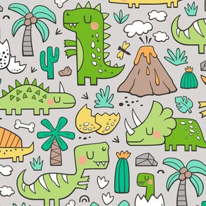 Dinos Doodle Green on Light Grey