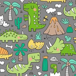 Dinos Doodle Green on Dark Grey