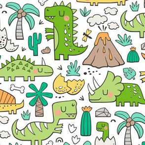 Dinos Doodle Green on White