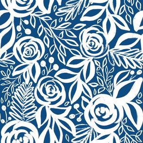Classic Blue and White Leafy Floral - larger scale