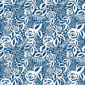 Classic Blue and White Leafy Floral - smaller scale