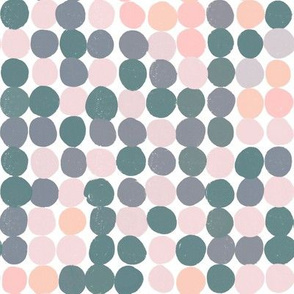 Muted Chill Dots in coral, pink, blue, and green
