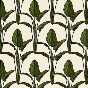 Banana leaves on cream - small scale
