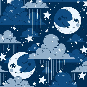 Rainy Night Sky in Classic Blue