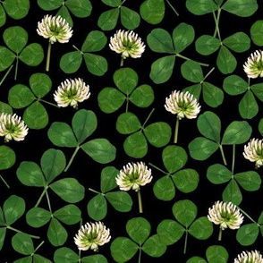 pressed clover fabric - pressed flowers fabric, leaves, shamrock fabric, clover fabric - black with white