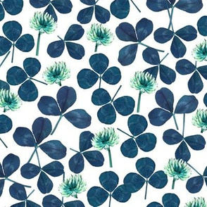 pressed clover fabric - pressed flowers fabric, leaves, shamrock fabric, clover fabric - blue