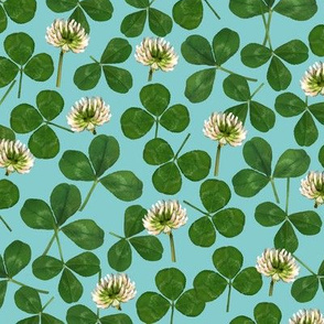 pressed clover fabric - pressed flowers fabric, leaves, shamrock fabric, clover fabric - mint