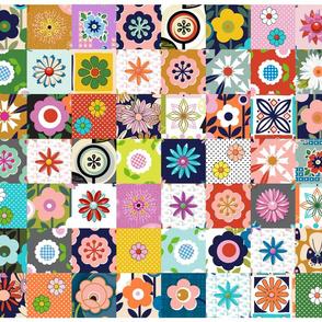 Les Fleurs Cut-and-Sew Pillow Panel* || flowers floral 70s 60s retro vintage style nature diy leaves mod midcentury