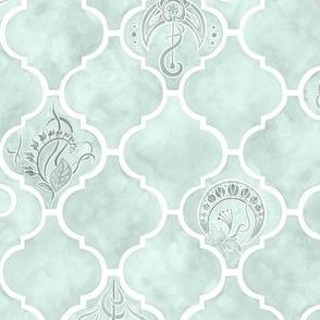 Pastel Sea Glass Green Arabesque Tile Art Nouveau