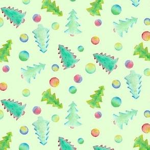 Watercolor Christmas trees on faint green