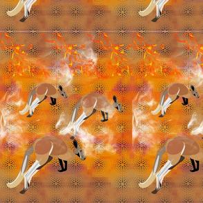 kangroos in the bush fire