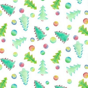 Watercolor Christmas trees on white
