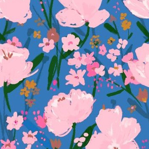pink blooms on blue