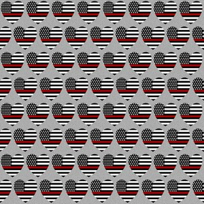 thin red line flag in hearts on grey small scale
