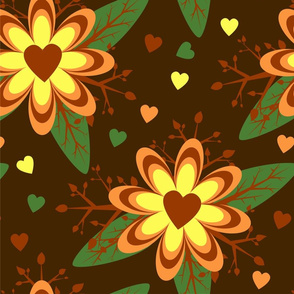 large scale pattern loral hearts