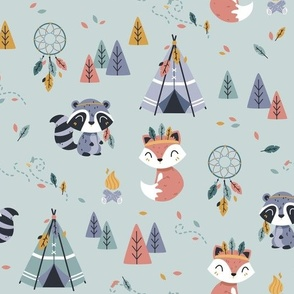 Colors of the wind - woodland fox raccoon - mint BIG