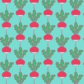 symmetrical red radishes on teal